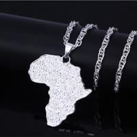 afrikanische schmuckkarte großhandel-Hip Hop Schmuck Afrika Karte Anhänger Halsketten Farbe Gold Schmuck Für Frauen Männer Afrikanische Karten Schmuck Geschenke Herren Halsketten