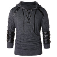 6cfef66b12 faux leather lace up tops Australia - wholesale Men Lace Up Faux Leather  Hoodie Fashion Cool