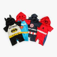 Wholesale clothe captain america resale online - Baby Boy Girl Avenger Rompers kids Superhero Cartoon Spiderman Captain America Cosplay Short Sleeve Hooded Rompers Clothes RRA1614