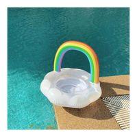 pe boote groihandel-Kinder Wolke Regenbogen Schwimmbad Strand Aufblasbare Schwimmer Aufblasbare Schwimmring Pool Hilfe Trainer Auslaufsicher Auftrieb Rettungsring