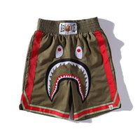 шорты для зеленого бокса оптовых-19SS ниго классическая голова акулы пять штаны зеленые шорты для бокса модные повседневные брюки M-XXL