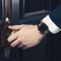 мужские наручные часы оптовых-Mens Watches Top   New Quartz Watch Leather Strap Korean reloj hombre relogio masculino Montre Homme #03