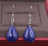 ingrosso orecchini d'argento lapis lazuli-Pure S925 Silver Dangle Earrings Lapis Lazuli Raindrop Orecchini da donna Hook 36mmL Fashion New