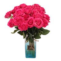 precios de flores de boda azul al por mayor-Nueva rosa flor rosa / azul / negro / rojo / amarillo / púrpura PU rosas artificiales 45 cm para boda flores decorativas precio al por mayor