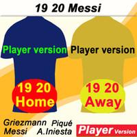 heimspieler großhandel-19 20 Player Version MESSI Griezmann Mens Fußball-Trikots PIQUE COUTINHO Dembélé SUAREZ Home Away Fußball Shirts F. DE JONG mit kurzen Ärmeln