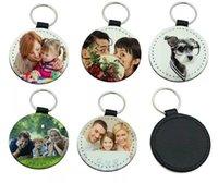 anneau sac pièces accessoires achat en gros de-Sublimation DHL 200pcs PU vide Keychain Accessoires Gland Bag Key Bag Pièces