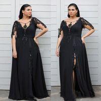 черные бисерные куртки плюс размер оптовых-Плюс размер Пром платья Line Scoop кружева шифон вечерние платья длиной до пола со стороны Split Матери невесты платья