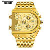 квадратные часы оптовых-Топ мода мужская 3 Times Zone Дизайн Кварцевые Часы Мужчины Военные Бизнес Наручные Часы Роскошные Золотые мужские Квадратные Часы Из Нержавеющей Стали
