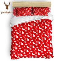 noel yorgan setleri toptan satış-Aile Dekor Kırmızı Merry Christmas Çorap 4 Adet Yorgan Kapağı Seti 4 Adet Yatak Setleri St. Patrick Günü Makinesi Yıkanabilir