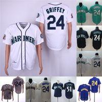 camisas de beisebol bege venda por atacado-# 24 Ken Griffey Jr. Jersey Mens Seattle 51 Ichiro Suzuki 100% Bordado Costurado Logos Mariners Baseball Jerseys Branco Verde Bege Marinha
