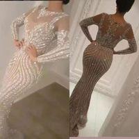 lüks elbise gece elbisesi toptan satış-Yusuf Aljasmi 2020 Lüks Uzun Kollu Pullarda Gümüş Denizkızı Gelinlik Modelleri Seksi Şeffaf Mücevher Boyun Akşam Giyim Boncuk Ünlü Balo Abiye