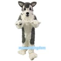 köpek kostüm çocuğu toptan satış-Yüksek Kaliteli Husky Köpek Maskot Kostüm Kurt Tilki Doğum Günü Partisi Fantezi Elbise Kıyafet Yetişkin Boyutu