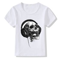 Wholesale baby girl cool clothes for sale - Group buy Cool Music DJ Skull Print T shirt Kids Baby Summer Tshirt Clothing Harajuku Funny Children T shirt Boys Girls O neck Tops