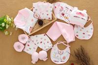 bebek giyim malzemeleri toptan satış-Pamuk yenidoğan takım elbise bebek giysileri bahar yenidoğan hediye kutusu anne ve çocuk malzemeleri dolunay bebek suit 18 takım