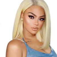 color lace front wigs achat en gros de-XBL CHEVEUX Droite Courte Bob Perruques Péruvienne Remy Cheveux Avant de Lacet Perruque de Cheveux Humains Afro Américain Pour Les Femmes Couleur Naturelle