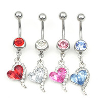 Wholesale heart style ring Belly Button ring Navel Rings Body Piercing Jewelry Dangle Accessories Fashion Charm