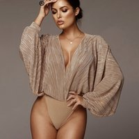 efaa3615c2 Deep V Neck Sexy Bodysuit Women Tops Long Sleeve Loose Rompers Womens  Jumpsuit Spring Casual Body Suit Party Overalls