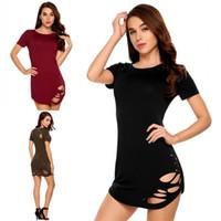 robes ajustées achat en gros de-Mode féminine moulante Mini jupe Slim Fit tenue décontractée pour l'été à manches courtes creux coupe Body femmes vêtements BZ8011