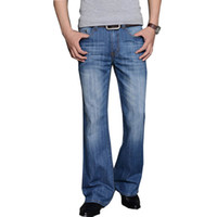 брюки с длинными ногами оптовых-2019 Mens Big Flared Jeans Boot Cut Leg Flared Loose Fit High Waist Male Designer Classic Denim Jeans Pants Bell Bottom
