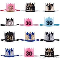 fotos de niñas niños al por mayor-1/16/30 Los hijos adultos de cumpleaños de los sombreros del partido niñas kawaii princesa Crown Caps Caps las mujeres pastel de cumpleaños Foto apoyos del partido Decoración