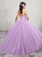 vestido de fiesta blanco talla 18 al por mayor-Elegante lila rosa perlas sin tirantes blancas vestidos de quinceañera Ocasión especial Vestidos de fiesta Baile Vestidos de baile Tamaño personalizado 2-18 KF1229350