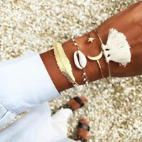 Wholesale moon bangle for sale - Group buy ALYXUY set Bohemian Gold Color Feather Star Moon Open Bracelet Set for Women Punk Natural Shell Tassel Beach Bangle Jewelry