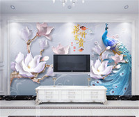 Wholesale peacock wall paint for sale - Group buy Custom Photo Wallpaper d Embossed Flowers Modern And Simple Peacocks Living Room TV Background Bound Wall Painting Wallpaper