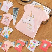 karikatür tişörtler kızlar için toptan satış-Kız bebekler Unicorn Tişört Katı Karikatür Kısa Kollu Harf Çocuk Tasarımcı Giyim Kız Kız Tasarımcı Giyim Çocuk Giyim 2-6T 07 Tops