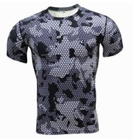 Wholesale camo compression shorts for sale - New summer Base Layer Camouflage T Shirt Fitness Tights Quick Dry Camo T Shirts Tops Crossfit Compression Shirt