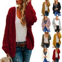 cardigans de colores al por mayor-El color 8 S-XL de señoras para mujer Escudo Chunky suéter de punto de frente abierto larga del bolsillo Midi Cardigan