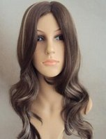 Wholesale brown curly wig highlights for sale - Group buy WIG Details about Long brown with light blonde highlights synthetic wavy wig