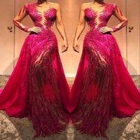 uzun kırmızı bağcıklı elbise toptan satış-Şeffaf Bir Omuz Dantel Uzun Kollu Balo Abiye Şeffaf Tül Payetler Kristaller dantelli Kırmızı Halı Elbise Örgün Önlükler