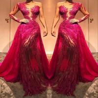 ingrosso vestito di spalla lungo lungo del sequin rosso-Sheer una spalla Lace maniche lunghe Abiti da sera Prom tulle trasparente Paillettes Cristalli increspato vestito dal tappeto rosso abiti convenzionali