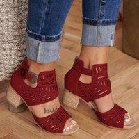 Wholesale scrubs women medium resale online - New Women Sandals Wegdge Summer Vintage Ankle Strap Elegant Ladies Shoes High Heel Round Toe Scrub Female Sandals Pumps Y200509