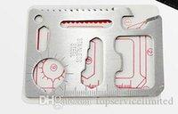 ingrosso coltello da esterno-250pcs caccia sopravvivenza coltello da tasca 11 in 1 multi strumenti carta di credito coltello in acciaio inox all'aperto attrezzi attrezzi di sopravvivenza