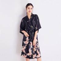 c1ec1aaeee 2812 Camicia da notte Kimono Accappatoio Donna Sexy con cintura Kimono  Cardigan lungo Femme Plus Size Allentato Falso Seta stampato Sleepwear in  vendita