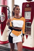 vestido de manga larga dos colores al por mayor-Venta caliente colores patchwork de dos piezas conjunto de vestido de las mujeres 2019 verano de manga larga Crop Top Bodycon faldas túnica mujer Casual Sports Dress Sets