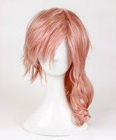 perucas misturadas venda por atacado-O Final Fantasy Relâmpago peruca Srah é um novo longa Blended rosa peruca cosplay