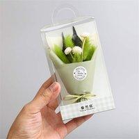 sevimli buketler toptan satış-Ins basit tarzı Şükran Noel hediyesi sevimli sanat simülasyon çiçek Mini buket PVC hediye kutusu seti