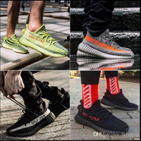 ingrosso colori scarpe da corsa uomini-adidas yeezy 350 V2 off white boost sneakers  36-46 scarpe di design v2 tinta blu V2 Sply Nero Rosso BY9612 Uomo Donna Scarpe da corsa
