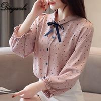 kore bayanlar şifon gömlek toptan satış-Dingaozlz Yeni Kore Moda giyim Tatlı Papyon Lady Polka dot Şifon Bluz Casual Kadın gömlek Tops