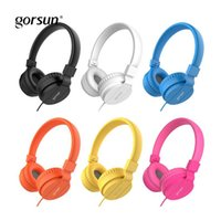 bunte kabelgebundene kopfhörer großhandel-GORSUN bunte Kinderkopfhörer 3.5MM verdrahtete Kopfhörer-faltbare Musik-Kopfhörer für Handy Notizbuch-Kopfhörer für Kinder