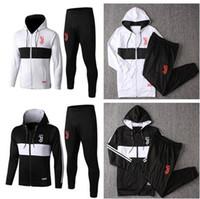 Wholesale hoodie windproof resale online - 2019 JUVENTUS tracksuit hoodie Kit Thai Quality Football Jackets Pants Ronaldo Uniform Long Soccer Hooded