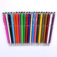 ingrosso penne per ufficio personalizzate-22 colori metallo Penna a sfera creativa di tocco dello stilo per ordine su ordinazione di scrittura Stationery Office Penna della scuola Ballpen Nero Blu LNK