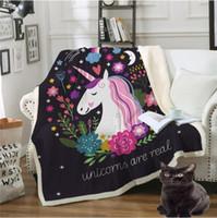 Wholesale velvet textiles resale online - Bedding Outlet Cartoon Unicorn Velvet Plush Throw Blanket Printed Blankets Kids Sherpa Blanket for Couch Home Textiles CCA10846