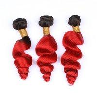 extensions ondulées de cheveux humains achat en gros de-Des faisceaux d'armure de cheveux malaisiens d'ombre de racine rouge foncé 3Pcs # 1B / Red Ombre lâche de la vague de cheveux humains vierges tissent des extensions de trame de cheveux ondulés