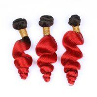 gevşek atkı saç uzantısı toptan satış-Koyu Kök Kırmızı Ombre Malezya İnsan Saç Dokuma Paketler 3 Adet # 1B / Kırmızı Ombre Gevşek Dalga Virgin İnsan Saç Dalgalı Saç Atkı Uzantıları Örgüleri