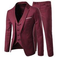 chaqueta de elección al por mayor-XLY 2019 Custom Burgundy Choice Tux Terno Novios Padrinos de boda para hombre Trajes de boda Slim Fit Traje de hombre 3 piezas Blazer (chaqueta + pantalones + chaleco)
