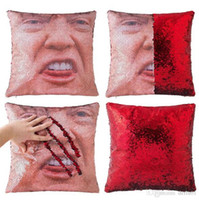 Wholesale brown black bedding for sale - Mermaid Sequin Trump Pillowcase Shining Reversible Pillow Case Magical Nicolas Cage Face Cushion Cover Sofa Bedding Cushion Pillowslip gifts