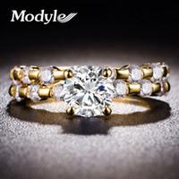 anel de ouro 2pcs venda por atacado-Modyle 2018 Novo 2 pçs / set Cor Prata Ouro Simples Branco CZ Anel de Pedra para a Mulher OL Moda Jóias